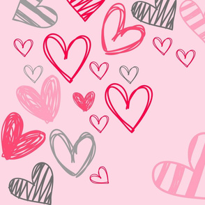 Valentine heart doodle toss on pink
