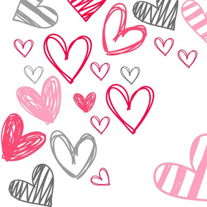 Valentine heart doodle toss on white