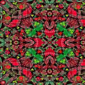Holiday Poinsettia Kaleidoscope blk