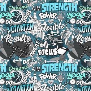 Fitness Graffiti Wall- Blue- Regular Scale