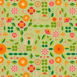 Verdure- Mod Scandi Florals- Light Pine Green- Small Scale