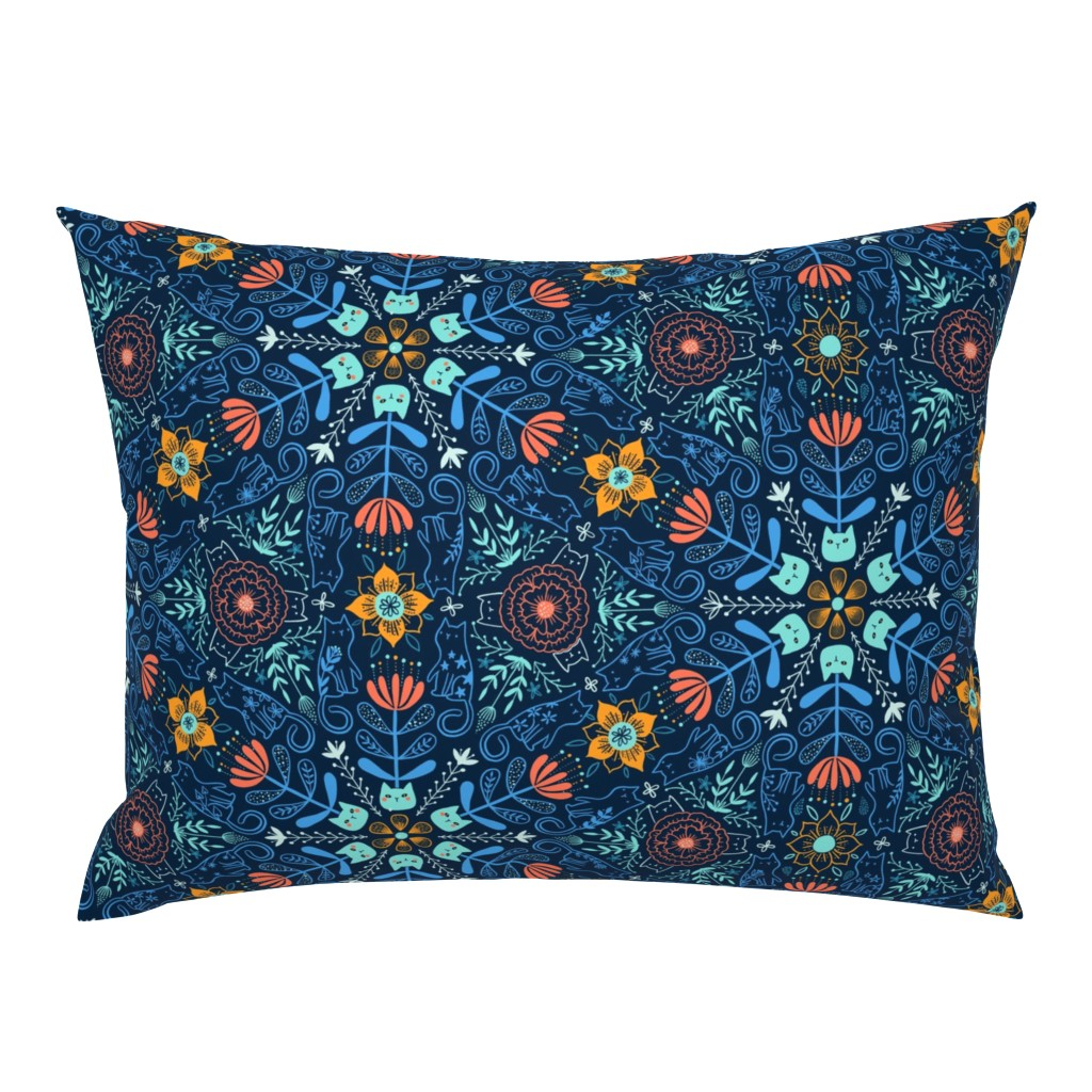 Campine Pillow Sham featuring Every cat is my best friend. Kaleidoscope kitties and flowers design. Pet animals pattern. by kostolom3000