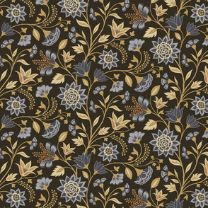 Chintz blue and gold