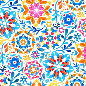 Watercolor Kaleidoscope Floral - brights