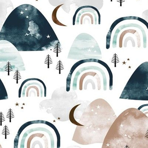 Magic_watercolors_mountains_and_rainbows_clouds_and_forest_trees_winter_woodland_gray_earthy_neutral_beige_blue_teal