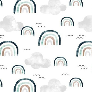 Magic watercolors rainbow sky clouds and birds teal neutral gray