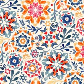 Watercolor Kaleidoscope Floral - desaturated