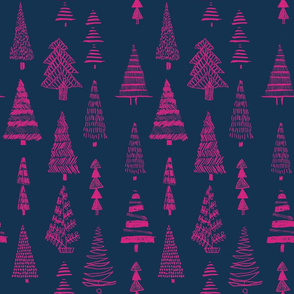 Pink hand drawn trees on navy
