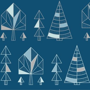 Stylised geometrics trees on blue