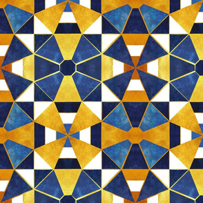 Normal scale // Kaleidoscope geometric shapes // gold and blue