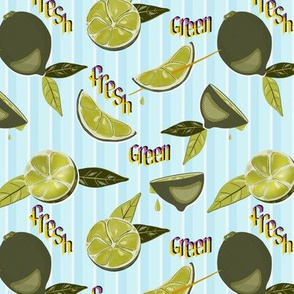 Juicy, green, fresh lime with leaves pop art