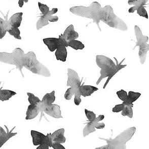 Noir butterflies • watercolor pattern for modern home decor/ nursery in shades of grey