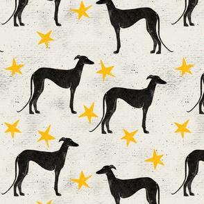 Lino cut sighthounds