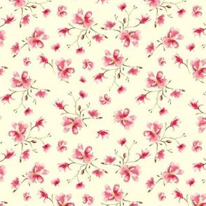 Watercolor magnolia on cream • small scale flowers