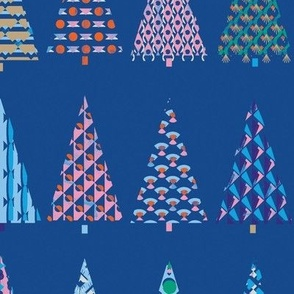Decorative trees in an art deco style patterns