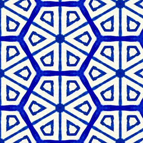 classic blue and white hand-painted tile