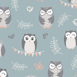 The Owls - green nursery pattern