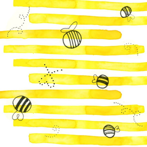 Bees on Yellow Stripes