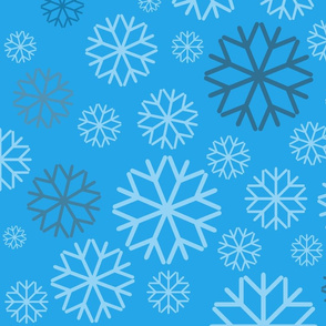 Multicolored Snow flakes on blue