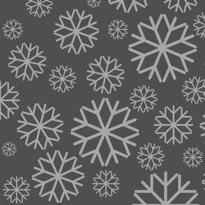 Snow flakes on gray
