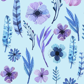 Whimsical floral watercolors on blue