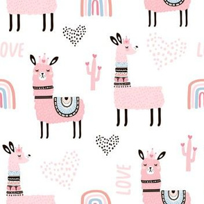 Cute pink llamas princess