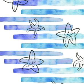 Starfish on Blue Stripes
