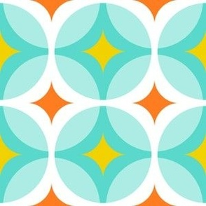 Groovy Circle Lock Print - Turquoise Blue, Orange, Yellow
