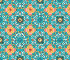 BOHEMIAN KALEIDOSCOPE TERRACOTTA AND TURQUOISE-01