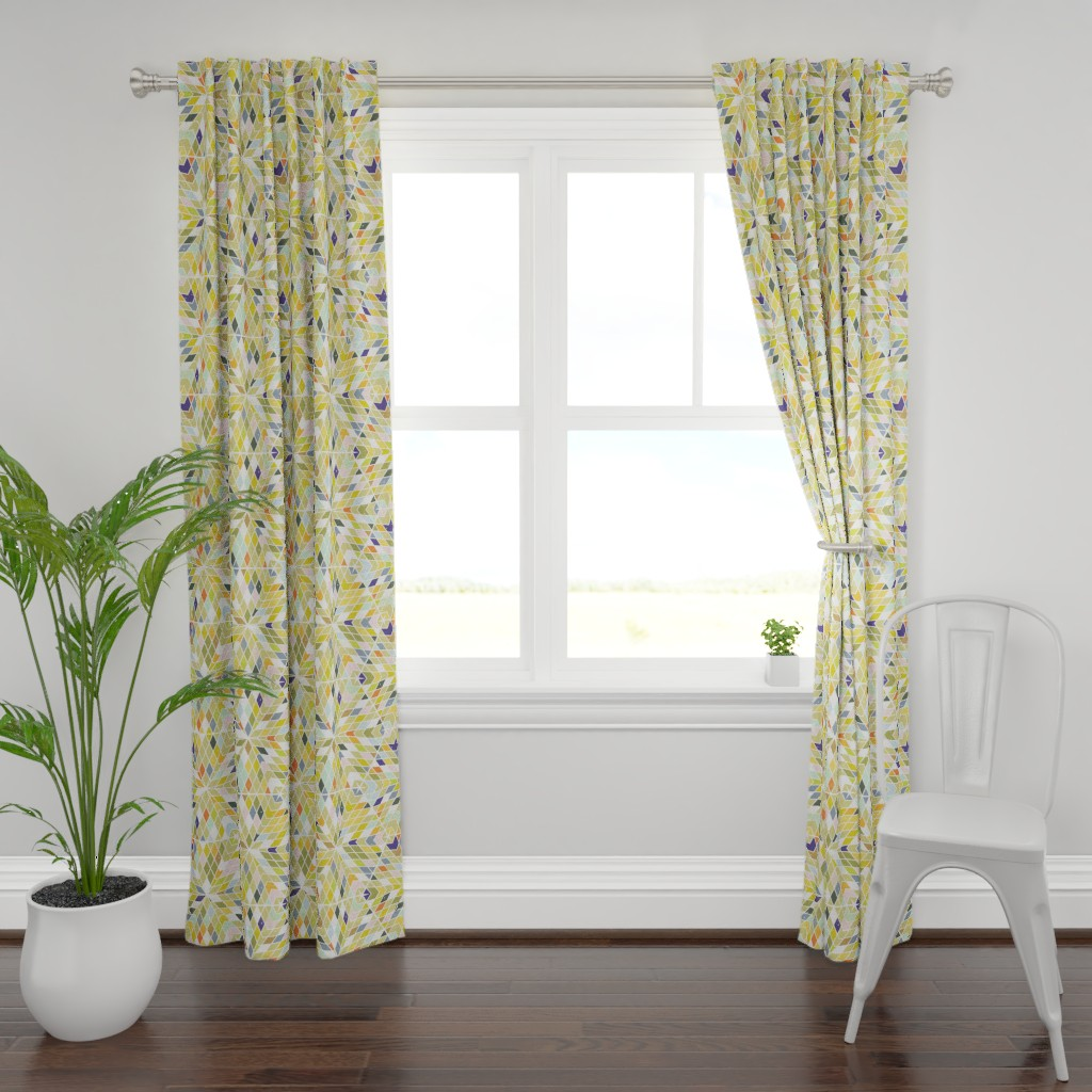 Plymouth Curtain Panel featuring Kaleidoscope M+M Olive by Friztin by friztin