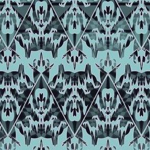Gothic Victorian Damask - Haunted Halloween Lace Filigree -- Alchemy in Seafoam, Light Pine Green