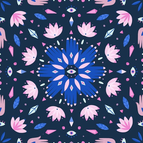 Magical hands and eyes kaleidoscope