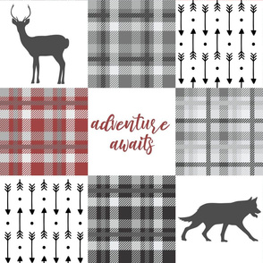 Baby boy patchwork quilt wolf with plaid adventure awaits