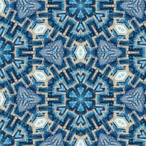 textural snowflake in turquoise blues