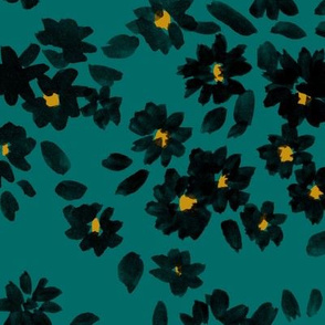 Painted Flowers - Teal and Gold