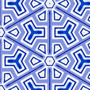 Chinoiserie pattern tile in blue and white