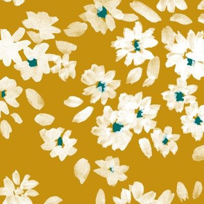 Painted Flowers - Gold White Teal