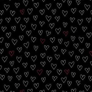 Handwritten hearts - black pattern