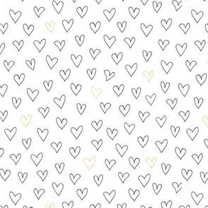 Hand drawn hearts - white pattern