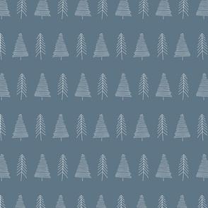 Winter trees - blue hand drawn pattern - smaller