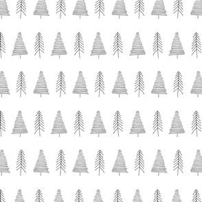 Winter trees - white hand drawn pattern - smaller