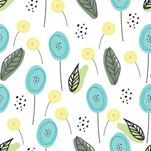 Blue and Yellow doodle flowers