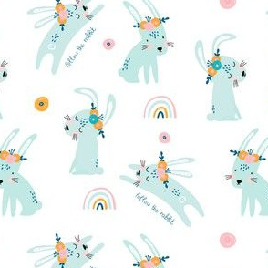 Follow the rainbow bunny pattern