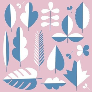 minimal leaves pastel pink and classic blue