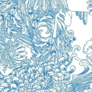hand painted classic blues snowflake