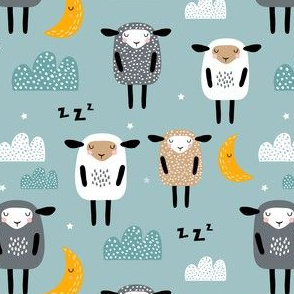 Sleeping sheeps on cloudy and starry sky