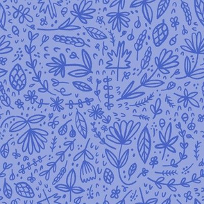 Cornflower Blue Hand drawn Floral