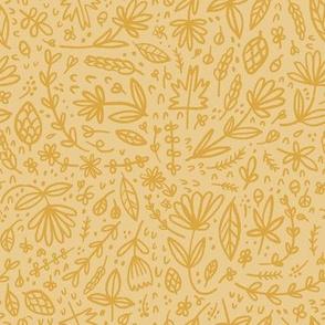 Goldenrod handdrawn Floral