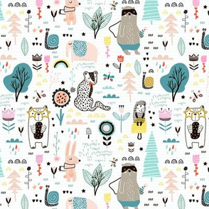 Chldish pattern with hand drawn animals