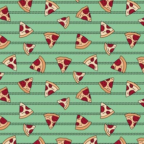 Pizza lovers slice fast food pop art drawing and stripes design green